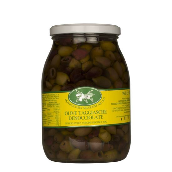 Picture of Pitted taggiasca olives in extra virgin olive oil